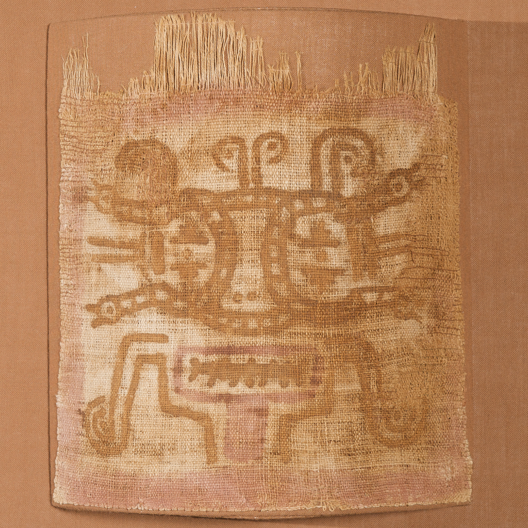 Mummy Mask with Snake Eyes Painted Textile, Paracas Culture, 300 BC