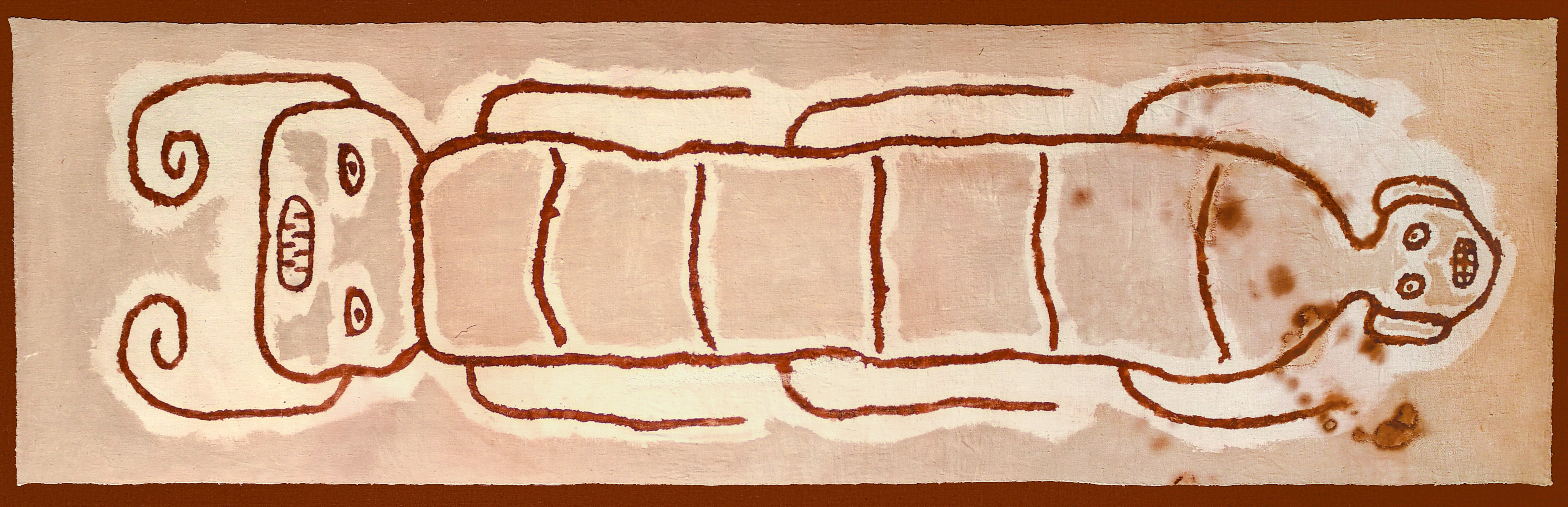 Pachacamac Large Painted Textile with Janus Headed Centipede